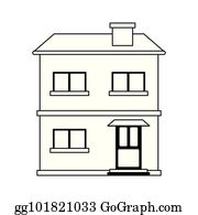 Two Story House Clip Art.