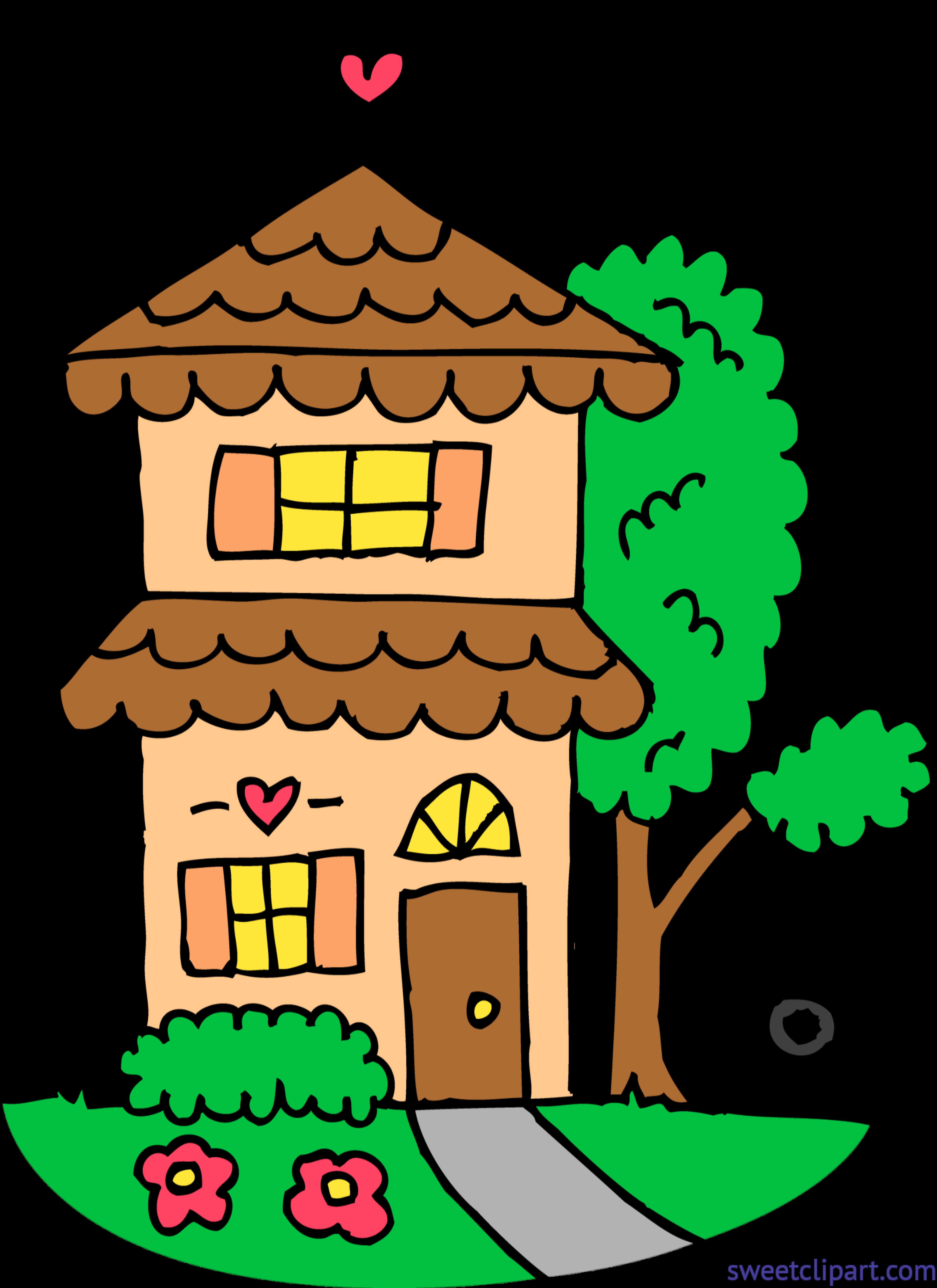 Cute Orange Two Story House Clip Art.