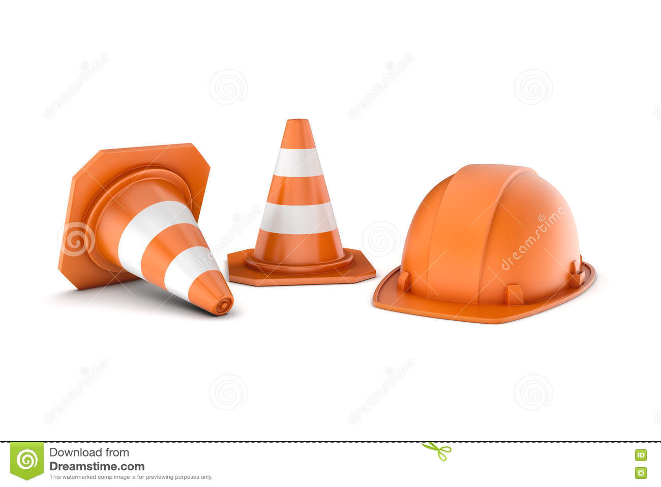 Rendering Of Two Striped Road Cones And Helmet, All Isolated On.