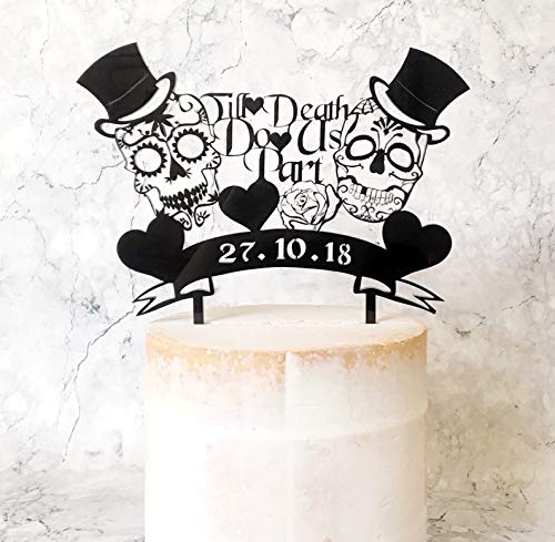 Till Death Do Us Part Sugar Skulls Wedding Cake Topper with.