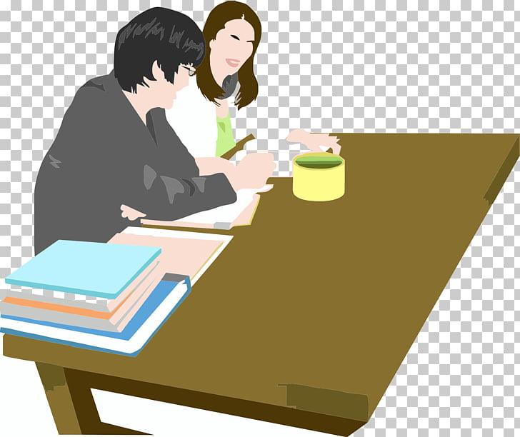 Table Cartoon Teacher Illustration, Two teachers together.