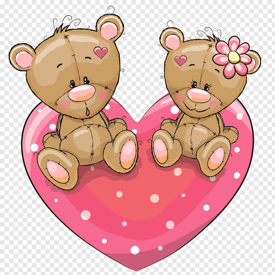 Two bear sitting on heart graphics illustration, Cartoon.