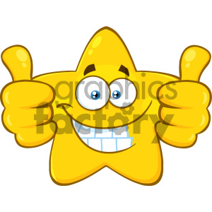Royalty Free RF Clipart Illustration Smiling Yellow Star Cartoon Emoji Face  Character Giving Two Thumbs Up Vector Illustration Isolated On White.
