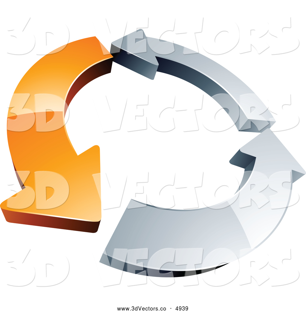 3d Vector Clipart of a Rotating Circle of One Orange Arrow.