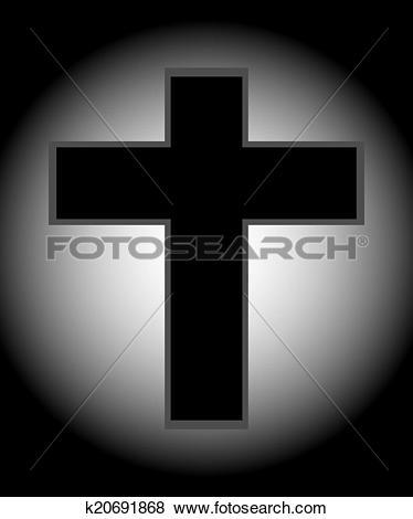 Clip Art of Two Tone Jesus Cross k20691868.