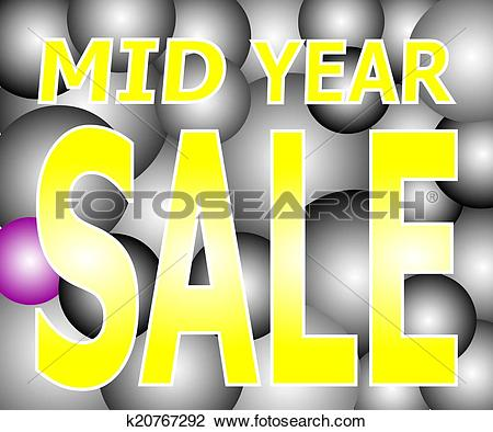 Clipart of Mid Year Sale on Light Two Tone Bal k20767292.