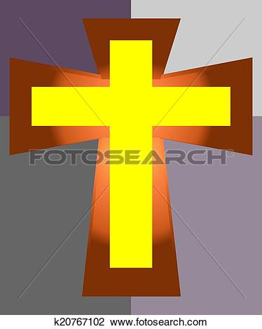 Clipart of Yellow Jesus Cross on Two Tone Back k20767102.