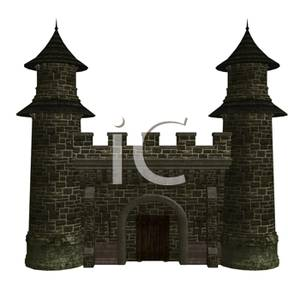 Free Clipart Image: Two Towers and a Wall of a Castle.