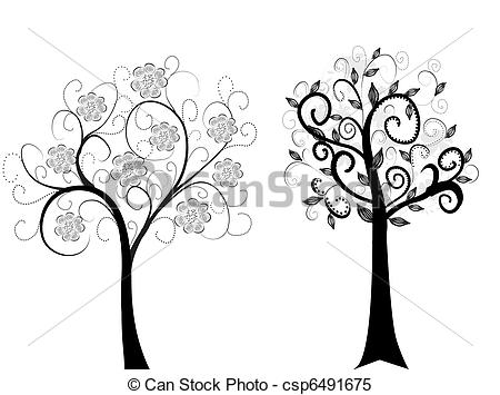 Clipart Vector of Two trees isolated on white csp6491675.