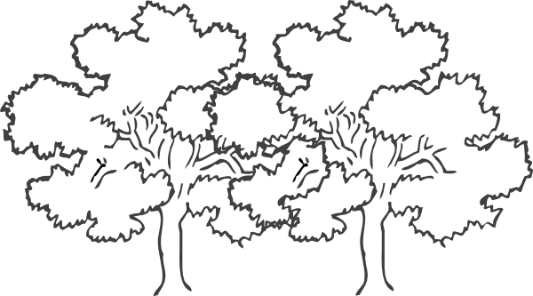 Two trees clipart black and white.