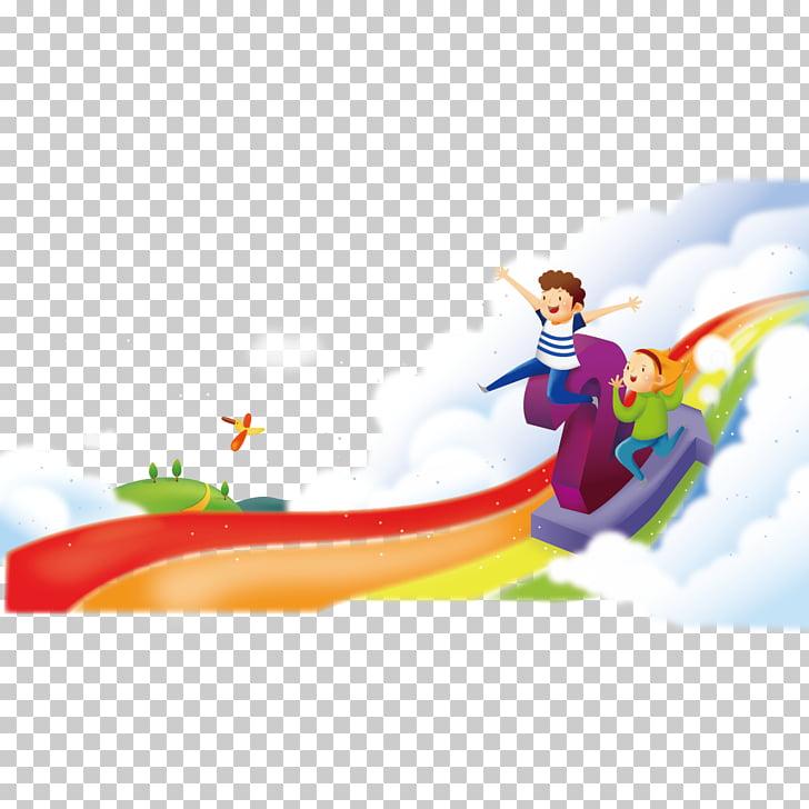 Child Play , Rainbow kids, two boys riding on rainbow.