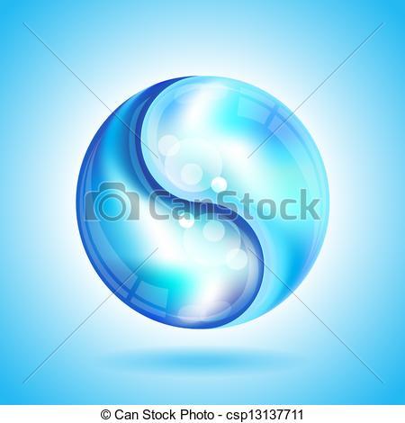 Vector Clip Art of Yin Yang water drops.
