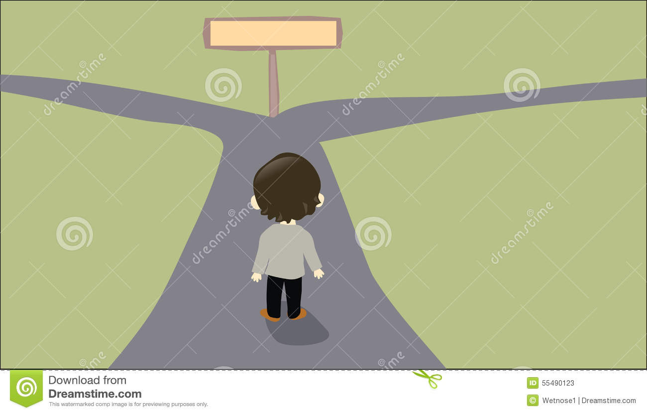 Person Facing Two Way Road Stock Illustrations.