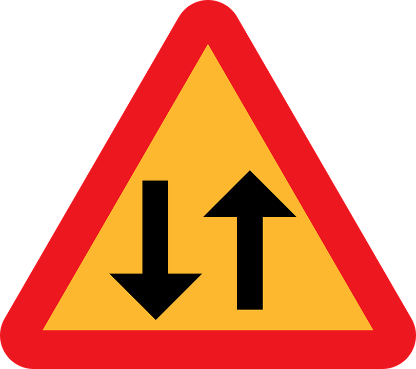 Free vector graphic: Two Way Traffic Straight Ahead.
