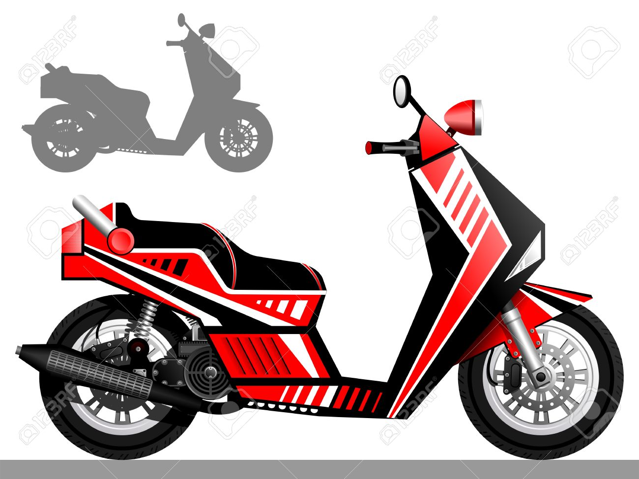 Scooter Red White And Black Scooter A Two.