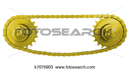 Drawing of Gold chain Transmission: chain and two wheels k7075903.