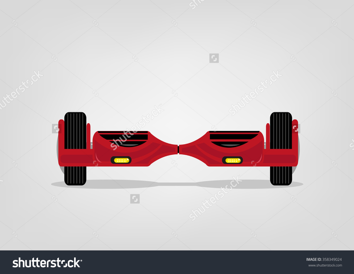 Red Electric Two Wheels Balance Board. Editable Clip Art. Stock.