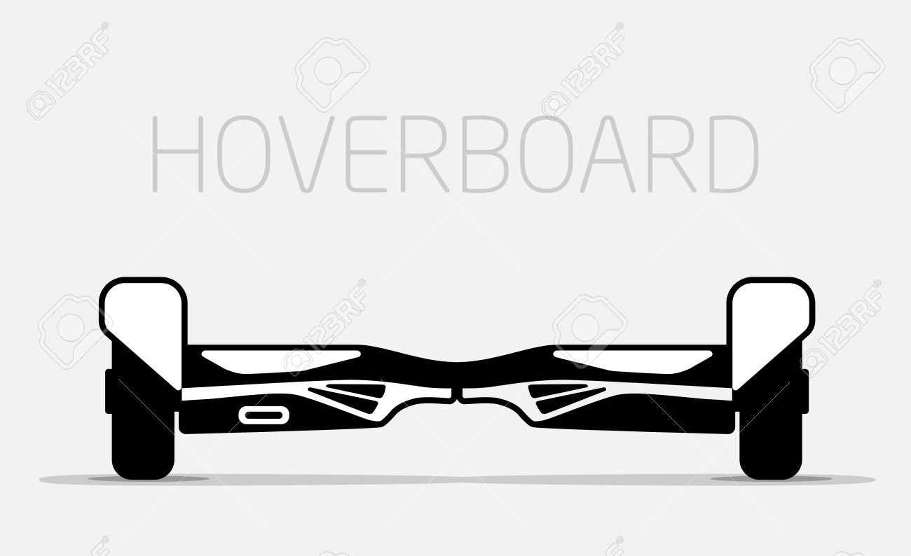 Red Electric Two Wheels Balance Board. Editable Clip Art. Royalty.
