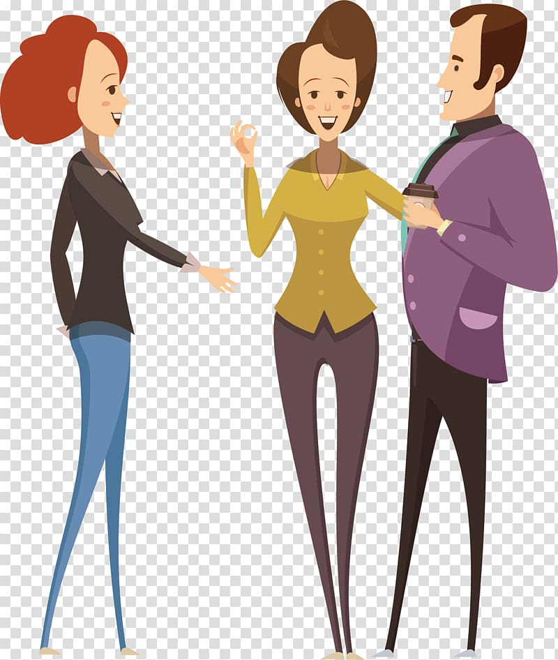 Two women and man , Cartoon Icon, Talking man transparent.