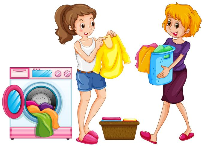 Two women doing laundry.