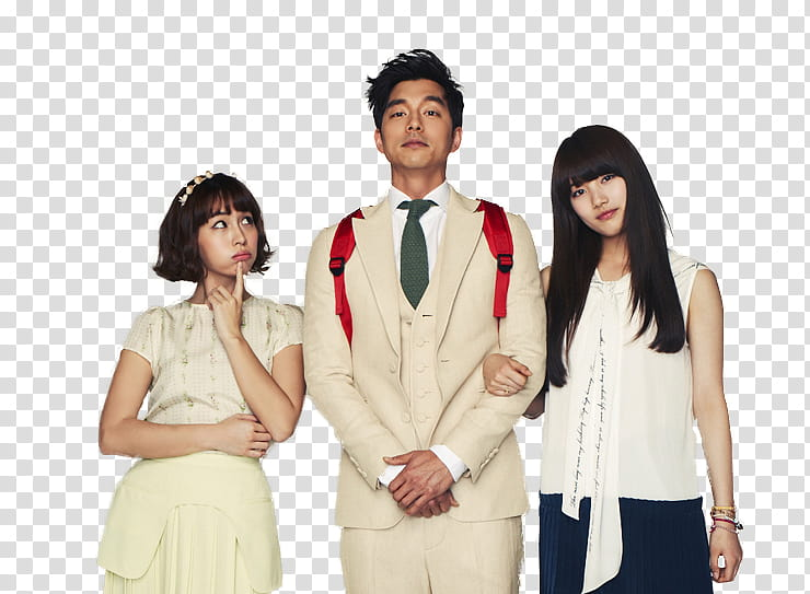 BIG Dorama, two woman and one man taking transparent.