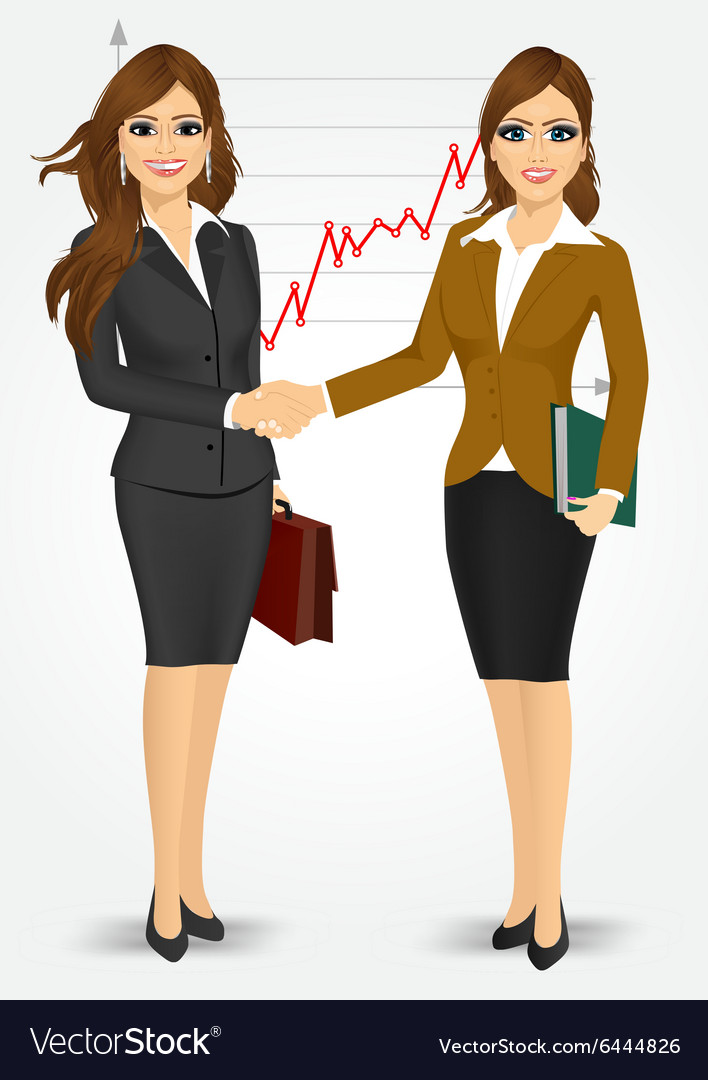 Two businesswomen shaking hands.