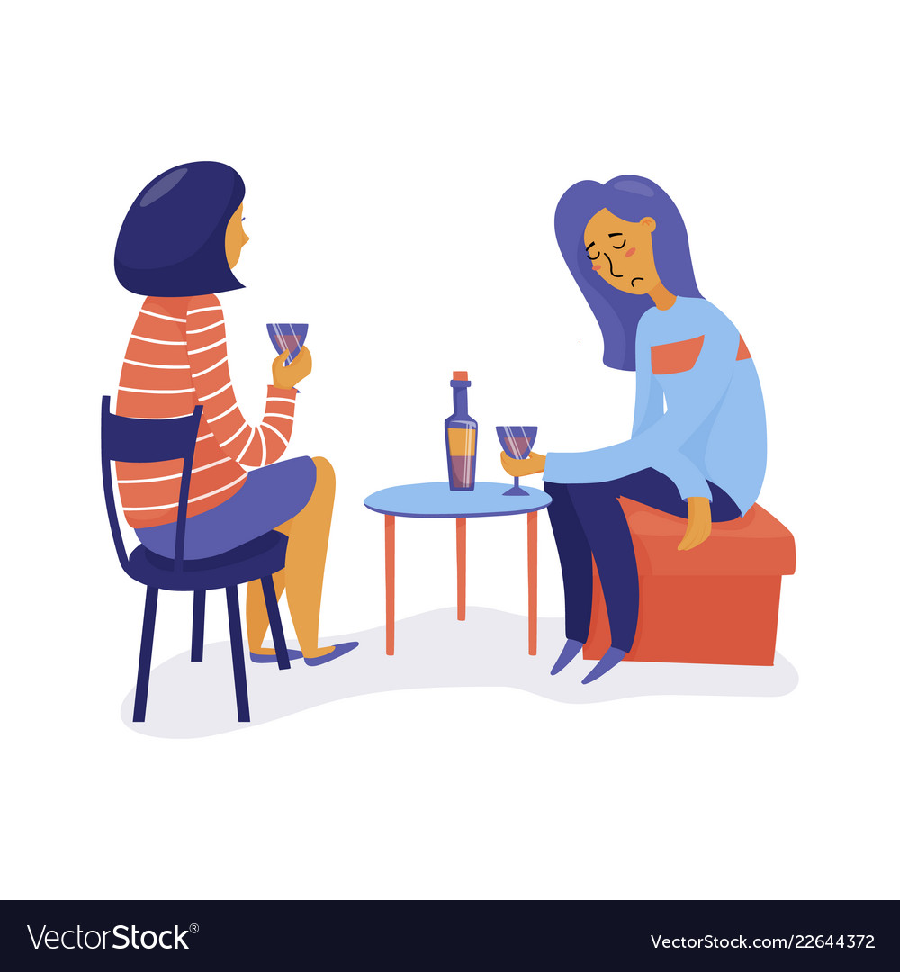 Two women drink wine one sad another listening.