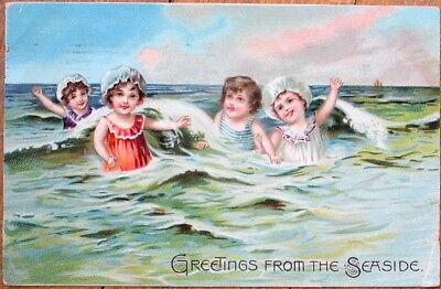 YOUNG BATHING BEAUTY 1909 Color Litho Raphael Tuck Postcard.