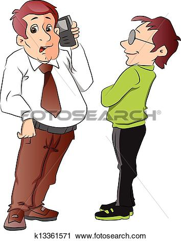 Clipart of Silhouette of two men talking, illustration k10339482.
