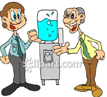 Two Men Gossiping Around the Water Cooler Clip Art.