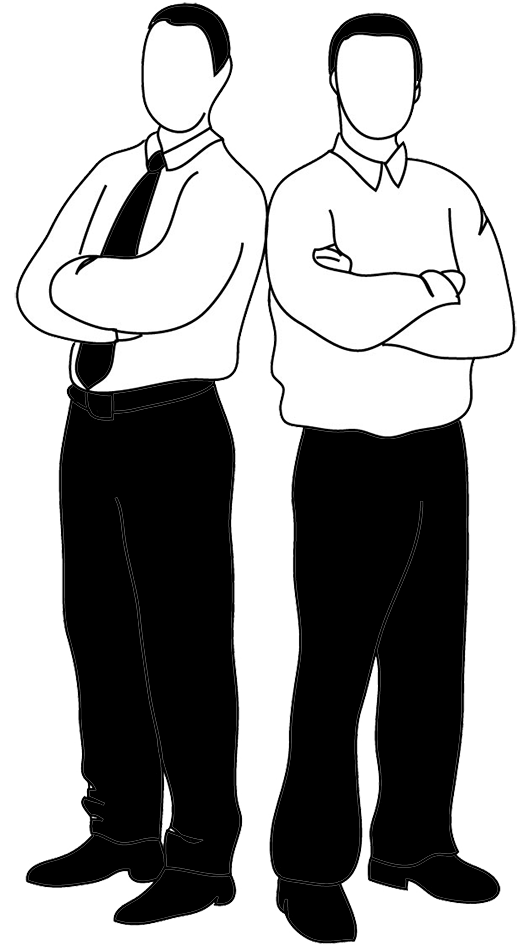 Two men clipart black and white.