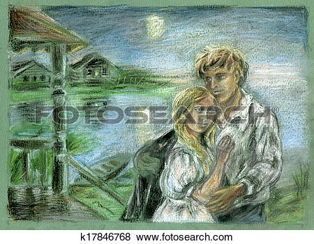 Stock Illustration of twosome at moonlit night k17846768.