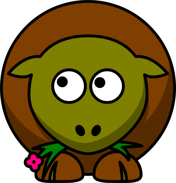 Sheep Olive Green And Brown Two Toned Looking Up To Left Clip Art.