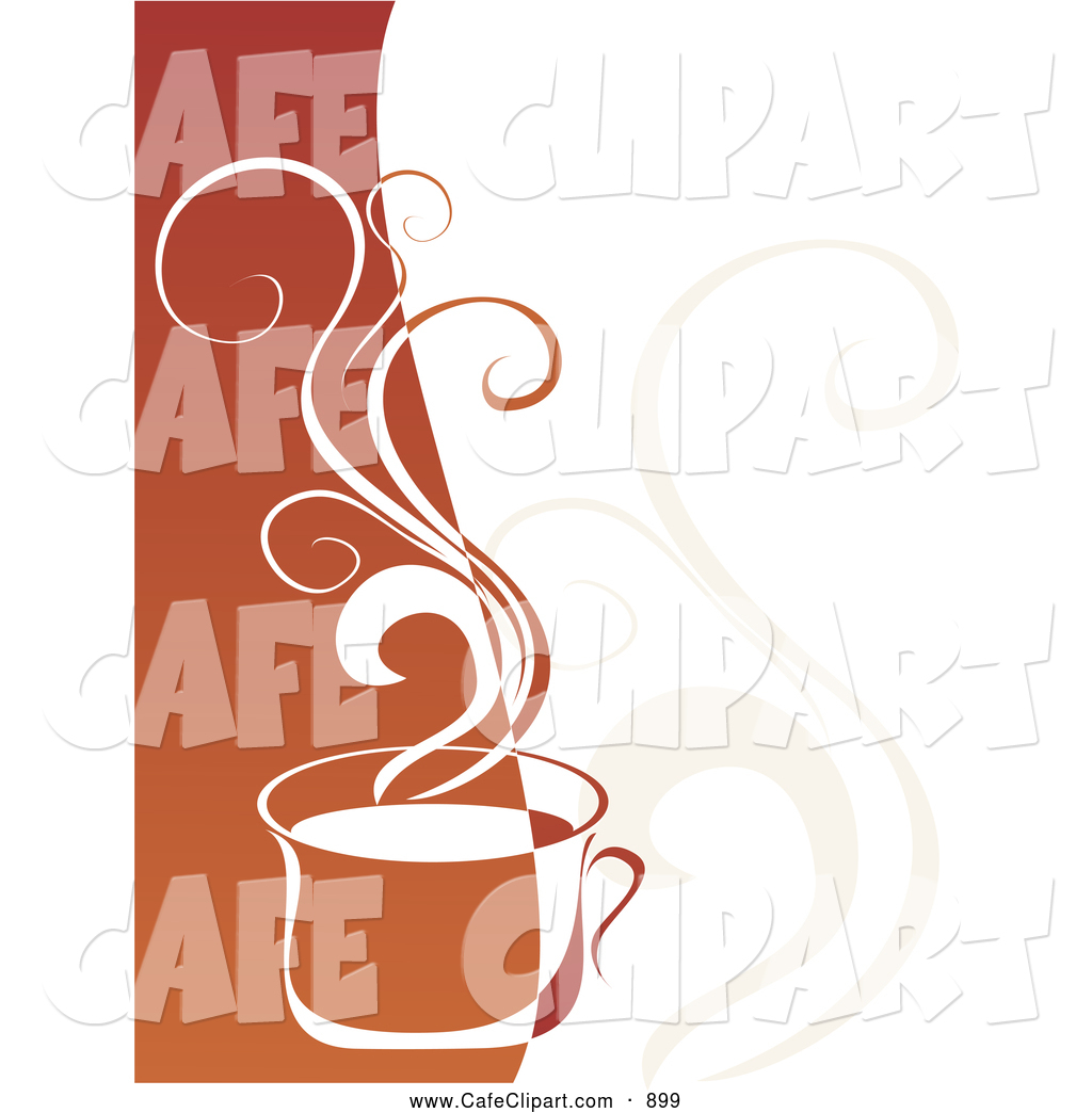 Vector Clip Art of a Hot Coffee Cup Steaming over Two Toned.