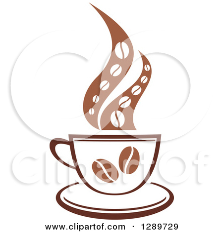 Clipart of a Two Toned Brown and White Steamy Coffee Cup with.