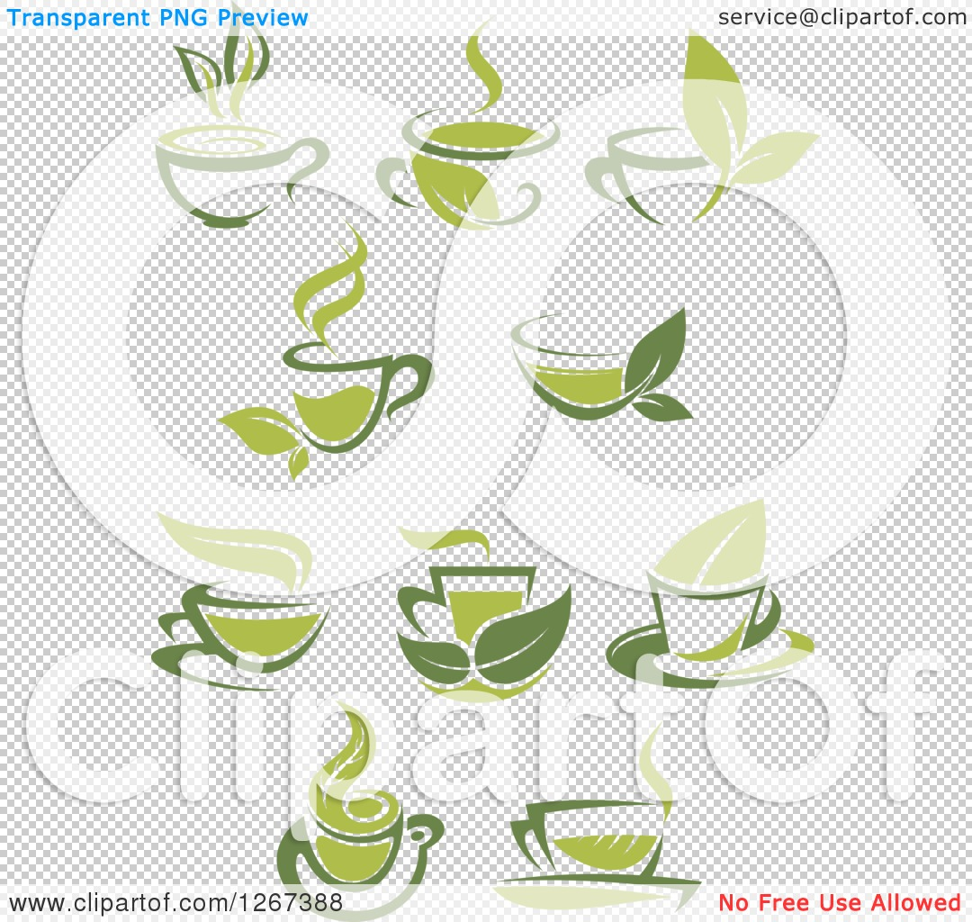 Clipart of Two Toned Hot Green Tea Cups and Leaves.
