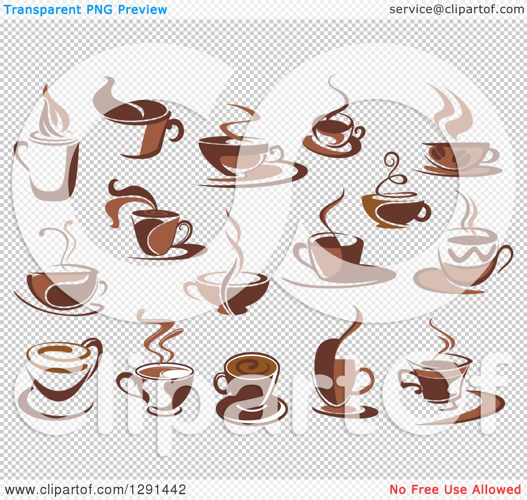 Clipart of Two Toned Brown and White Steamy Coffee Cups.