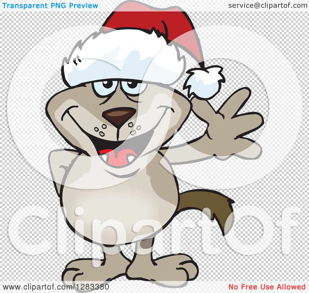 Clipart of a Friendly Waving Two Toned Brown Dog Wearing a.