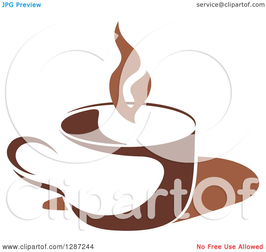 Clipart of a Two Toned Brown and White Steamy Coffee Cup 3.