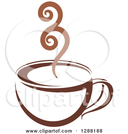 Clipart of a Two Toned Brown and White Steamy Coffee Cup 2.