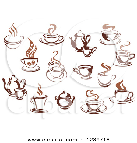 Clipart of Two Toned Brown and Steamy Coffee Cups and Pots.