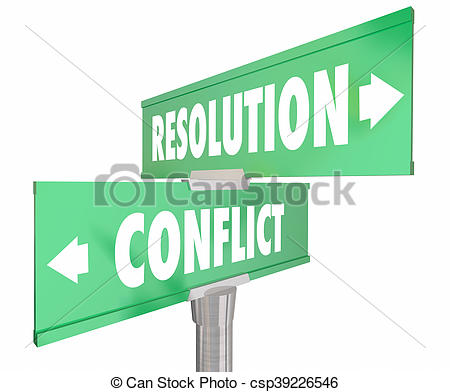 Drawing of Conflict Vs Resolution 2 Two Way Road Street Signs 3d.