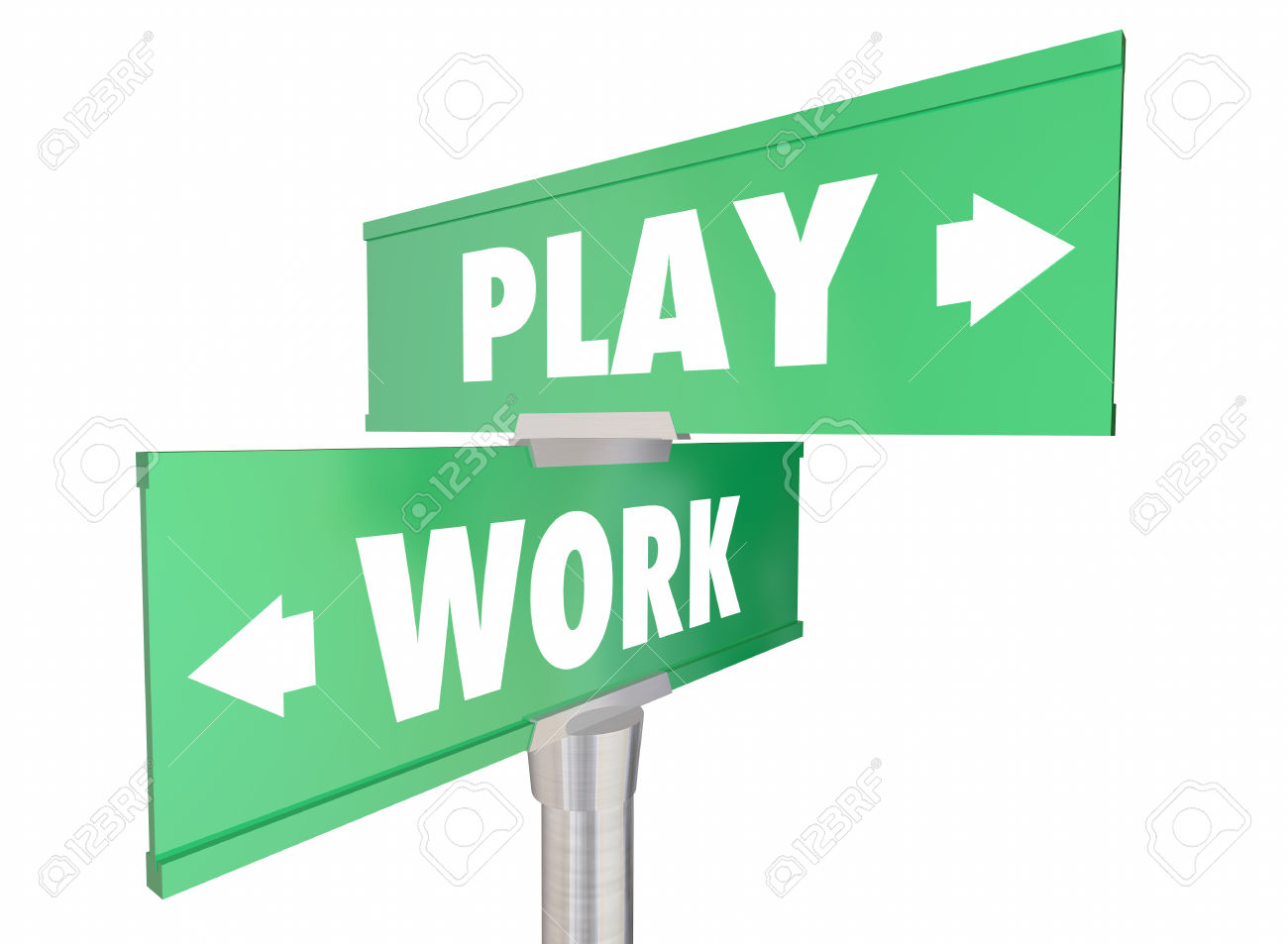 Work Vs Play Two Way Road Signs Words 3d Illustration Stock Photo.