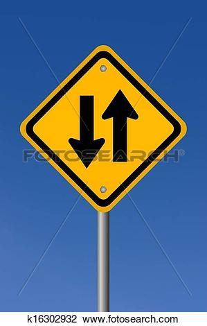 Clip Art of Two way road sign k16302932.