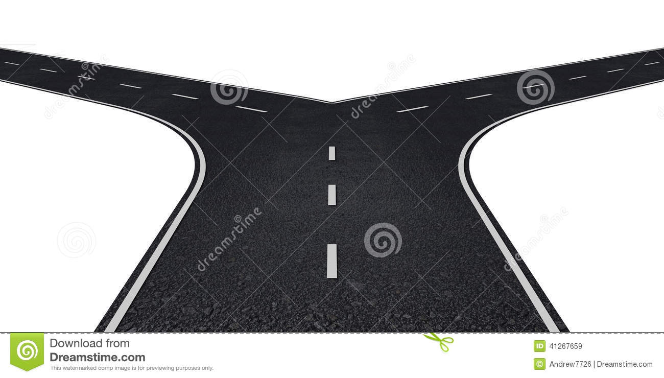 Road With Two Ways Stock Illustration.