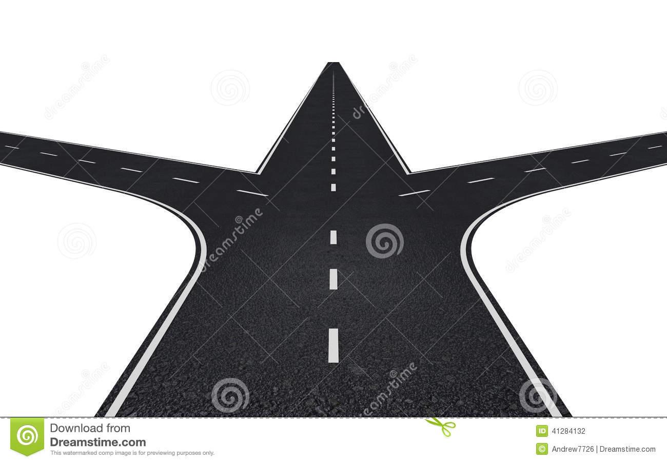 3 way road clipart.