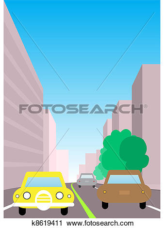 Clipart of City traffic illustration. Two way road with cars.