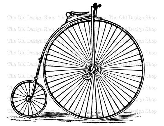 Antique Bicycle Clip Art Vintage Two Wheel Velocipede Bike.