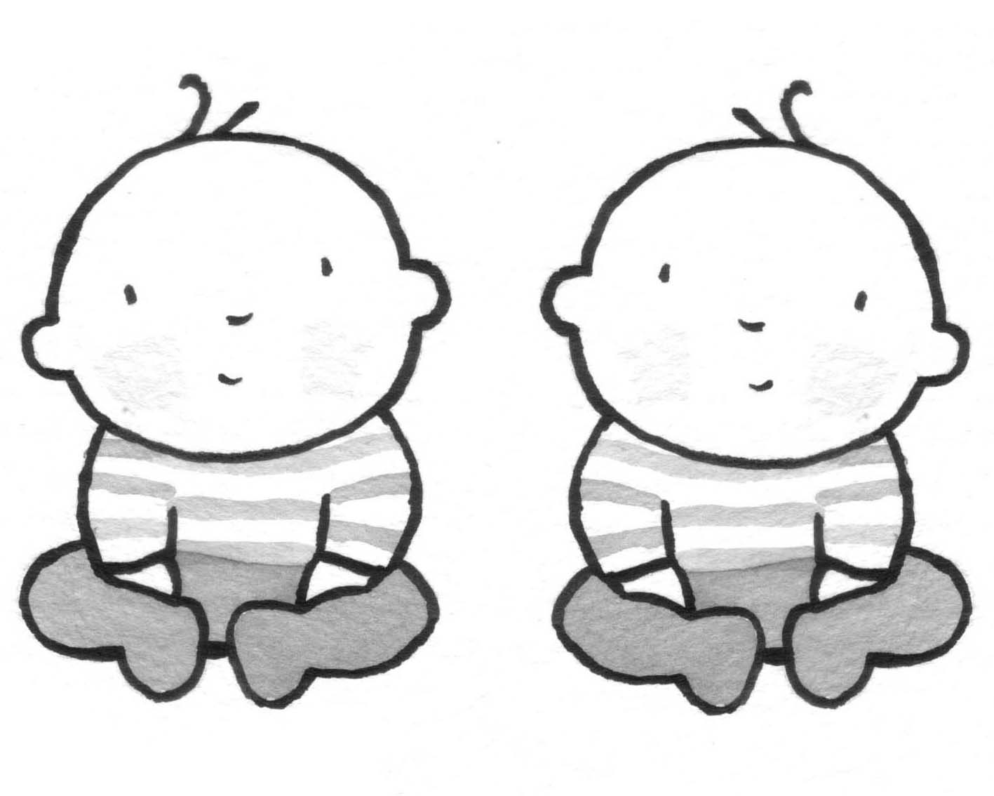 Twins Clipart Black And White.