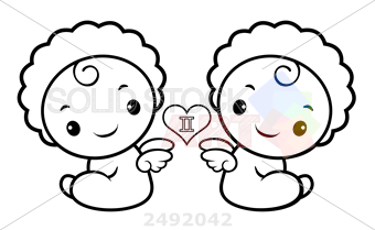 Stock Illustration of Black and white twins character sits aside signs of  zodiac isolated gemini vector illustration.